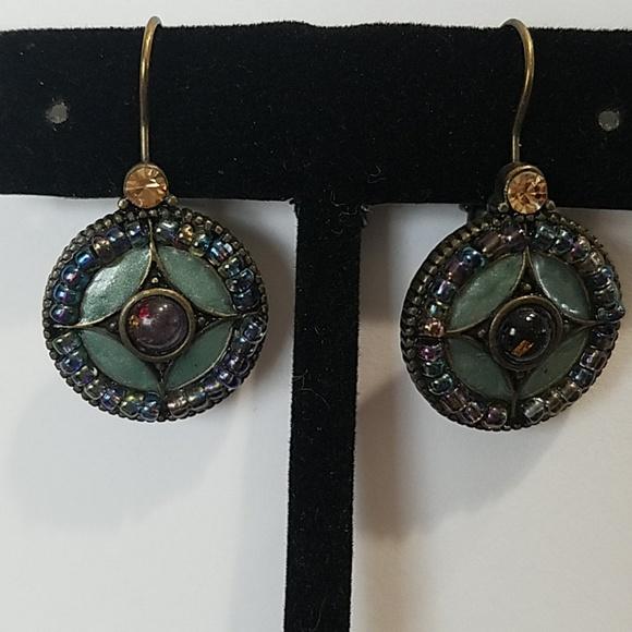 Gorgeous earrings. Blue/green enamel with beads.